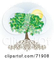 Royalty Free RF Clipart Illustration Of A Deeply Rooted Mature Tree With Blue Halftone Dots And A Sun