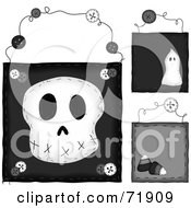 Royalty Free RF Clipart Illustration Of A Digital Collage Of Hanging Skull Door Signs by inkgraphics