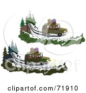 Royalty Free RF Clipart Illustration Of A Digital Collage Of A Family Vehicle Driving On A Winter Road Shown With The Lights On And Off by inkgraphics