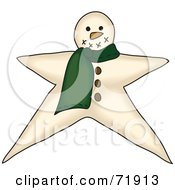 Royalty Free RF Clipart Illustration Of A Star Shaped Snowman With A Green Scarf by inkgraphics