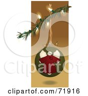 Royalty Free RF Clipart Illustration Of A Folk Styled Angel Christmas Bauble Suspended From A Branch