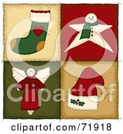 Royalty Free RF Clipart Illustration Of Four Christmas Folk Quilt Squares