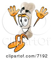 Clipart Picture Of A Bone Mascot Cartoon Character Jumping by Toons4Biz