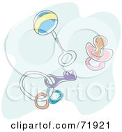 Royalty Free RF Clipart Illustration Of A Baby Rattle Pacifier And Toys On A Ring by inkgraphics