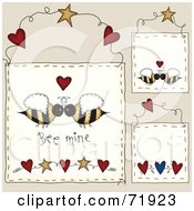 Royalty Free RF Clipart Illustration Of A Digital Collage Of Hanging Bee Mine Door Signs by inkgraphics