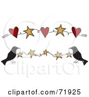Royalty Free RF Clipart Illustration Of Crows Holding Up A Star Banner Also Includes One With Hearts by inkgraphics