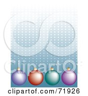Royalty Free RF Clipart Illustration Of A Blue Halftone Dotted Background With Colorful Ornaments by inkgraphics
