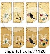 Digital Collage Of Folk Art Xmas Peeling Gift Tags