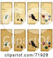 Digital Collage Of Folk Art Xmas Peeling Gift Tags