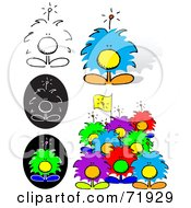 Royalty Free RF Clipart Illustration Of A Digital Collage Of Colorful Puffy Creatures