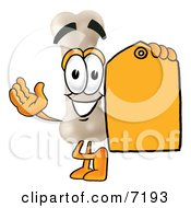 Bone Mascot Cartoon Character Holding A Yellow Sales Price Tag