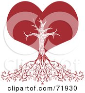 Royalty Free RF Clipart Illustration Of A Red Heart Tree With Deep Roots by inkgraphics #COLLC71930-0143
