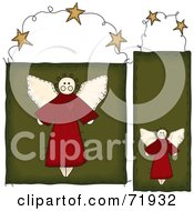 Royalty Free RF Clipart Illustration Of A Digital Collage Of Two Folk Styled Angel Door Hanger Signs by inkgraphics