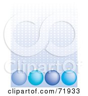 Royalty Free RF Clipart Illustration Of A Blue Halftone Dotted Background With Blue Ornaments by inkgraphics