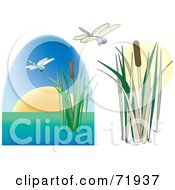 Royalty Free RF Clipart Illustration Of A Digital Collage Of Dragonflies With Cattails One Version With A Sunset by inkgraphics