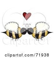 Folk Art Bee Couple Under A Red Heart