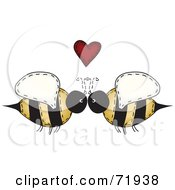 Royalty Free RF Clipart Illustration Of A Folk Art Bee Couple Under A Red Heart