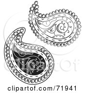 Royalty Free RF Clipart Illustration Of A Digital Collage Of Two Black And White Bird Paisley Designs