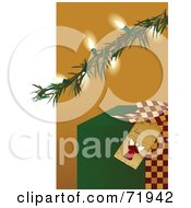 Green Christmas Present Under An Illuminated Tree Branch by inkgraphics