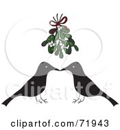 Royalty Free RF Clipart Illustration Of A Crow Couple Over A Red Heart