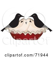 Royalty Free RF Clipart Illustration Of A Crow Couple On A Pie