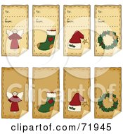 Digital Collage Of Folk Art Christmas Peeling Gift Tags