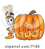 Clipart Picture Of A Bone Mascot Cartoon Character With A Carved Halloween Pumpkin