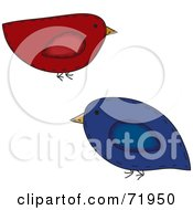 Red And Blue Folk Art Birds by inkgraphics