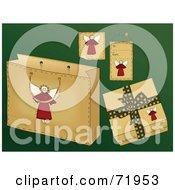 Digital Collage Of Folk Styled Angel Gift Items