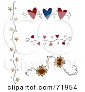 Digital Collage Of Flower Star And Heart Divider Designs