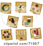 Digital Collage Of Peeling Squre Folk Art Christmas Stickers by inkgraphics