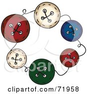 Circle Of Colorful Sewing Buttons With Thread
