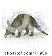 Royalty Free RF Clipart Illustration Of A Brown Aardvark Standing by inkgraphics