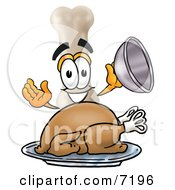 Clipart Picture Of A Bone Mascot Cartoon Character Serving A Thanksgiving Turkey On A Platter