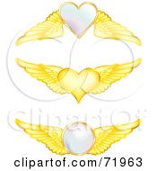 Royalty Free RF Clipart Illustration Of A Digital Collage Of Golden Wings With Hearts And Orbs by inkgraphics