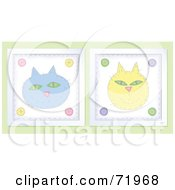 Royalty Free RF Clipart Illustration Of Blue And Yellow Happy Cat Faces by inkgraphics