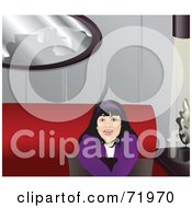 Royalty Free RF Clipart Illustration Of A Black Haired Teen Girl Sitting With A Pillow On A Couch by inkgraphics
