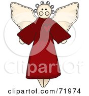 Royalty Free RF Clipart Illustration Of A Folk Styled Angel In A Red Gown by inkgraphics