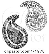 Royalty Free RF Clipart Illustration Of A Digital Collage Of Two Black And White Floral Paisley Designs