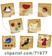Digital Collage Of Peeling Pie Bird Flower Button And Angel Folk Stickers