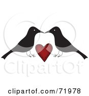 Royalty Free RF Clipart Illustration Of A Crow Couple Over A Red Heart by inkgraphics