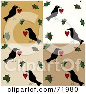 Folk Tiled Background Of Crows With Hearts And Holly