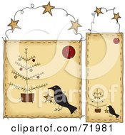 Royalty Free RF Clipart Illustration Of A Digital Collage Of Folk Christmas Crow Hanging Door Signs by inkgraphics
