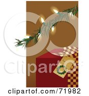 Red Christmas Present Under An Illuminated Tree Branch by inkgraphics