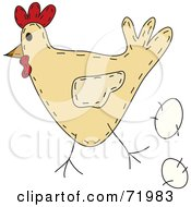 Royalty Free RF Clipart Illustration Of A Folk Art Chicken With An Egg by inkgraphics