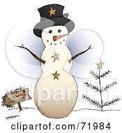 Royalty Free RF Clipart Illustration Of A Friendly Snowman With A Sign And Tree by inkgraphics