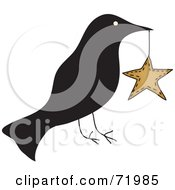 Royalty Free RF Clipart Illustration Of A Crow Carrying A Star by inkgraphics