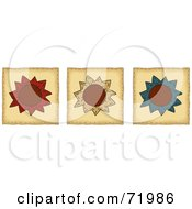 Digital Collage Of Three Folk Art Flower Tiles by inkgraphics