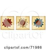 Digital Collage Of Three Folk Art Flower Tiles