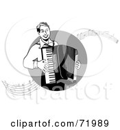 Royalty Free RF Clipart Illustration Of A Black And White Man Playing An Accordian With Music Notes by inkgraphics